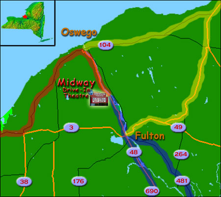 Map to Midway Drive-In Theatre